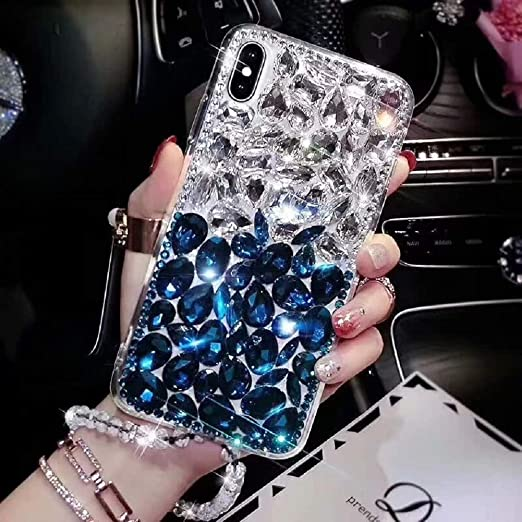 Cfrau Full Diamond Case with Black Stylus for Samsung Galaxy A7 2018,Luxury 3D Handmade Sparkle Glitter Crystal Rhinestone Bling Gemstone Jewelled Soft Bumper PC Case,Black White