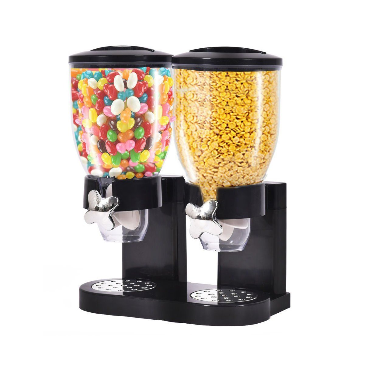 Belovedkai Dry Food Dispenser, Cereal Dispenser, Dual Control Twin Container for Kitchen Storage