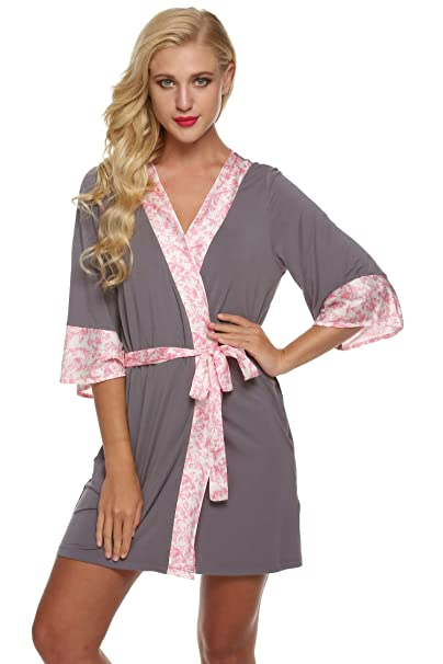 AIMADO Batas de Mujeres Kimonos Pijamas Albornoces Cortas con Cintura Mangas 3/4 Ropa de