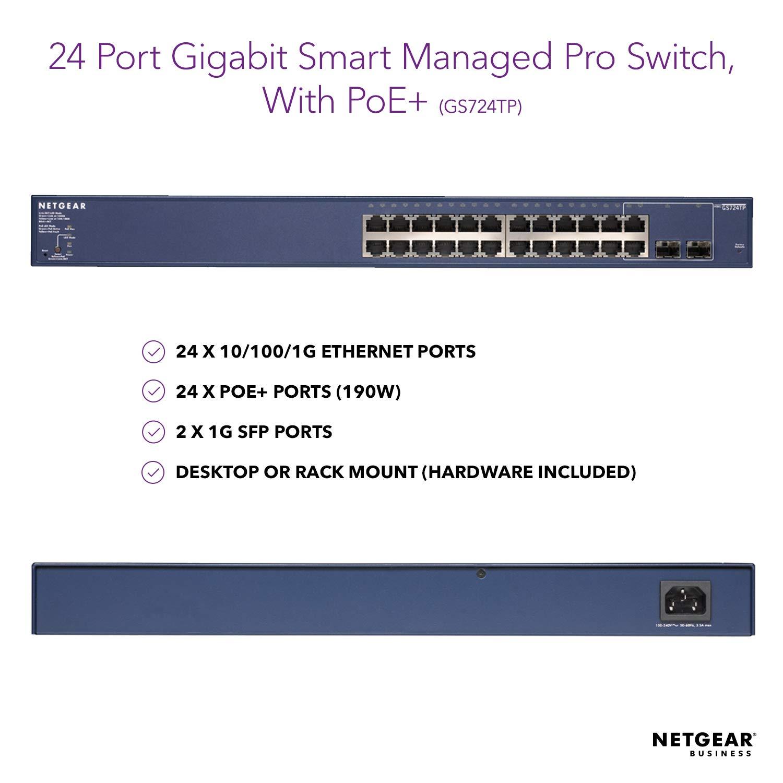 NETGEAR GS724TP-200NAS 24-Port Gigabit Ethernet Smart Managed Pro Switch,  190W PoE+, ProSAFE Lifetime Protection (GS724TP)