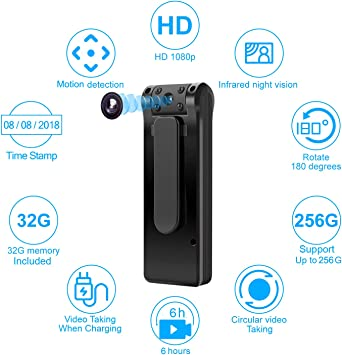 Mini Spy Body Camera 1080P WiFi Motion Detection Night Vision Cam with 32GB Card