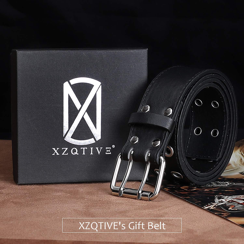 XZQTIVE Doppelte Tülle PU Ledergürtel für Frauen/Männer Punk Metall Jean Gürtel Breite 1,5 Zoll
