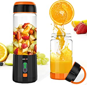 Smoothie Blender, LOZAYI Portable Personal Blender Travel USB Rechargeable Juicer Cup for Shakes and Smoothies, Cordless Single Serve Fruit Mixer Mini Blender with 16Oz. Glass Juicer Cup for Sports, Travel, Gym, Office (Orange)