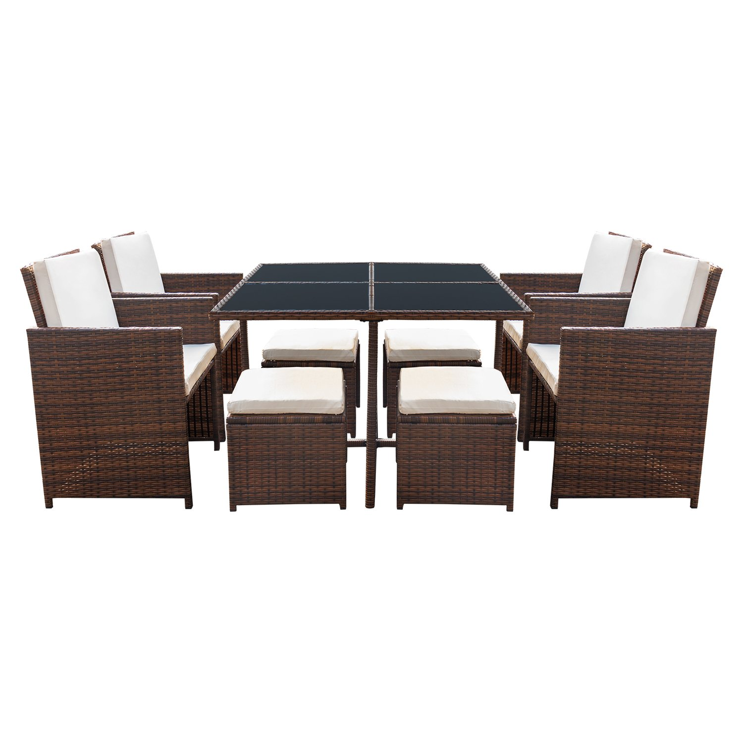 Devoko 9 Pieces Patio Dining Sets Outdoor Space Saving Rattan Chairs with Glass Table Patio Furniture Sets Cushioned Seating and Back Sectional Conversation Set (Brown) by Devoko (Image #6)