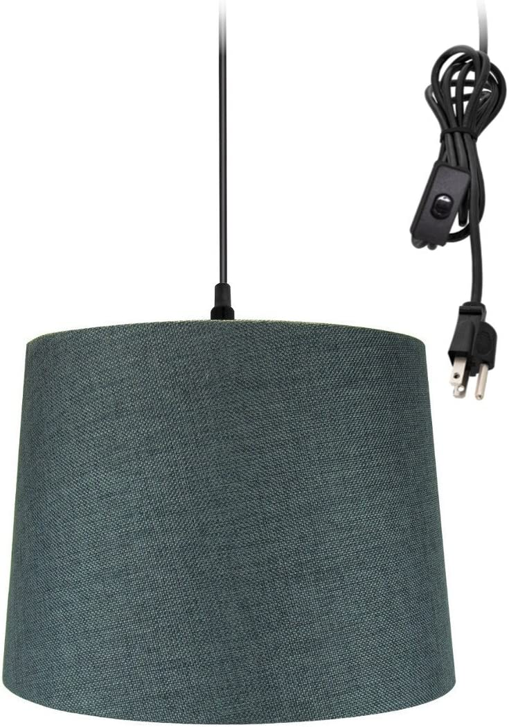 1 Light Swag Plug-in Pendant 14 w Granite Gray Shade, 17 Black Cord
