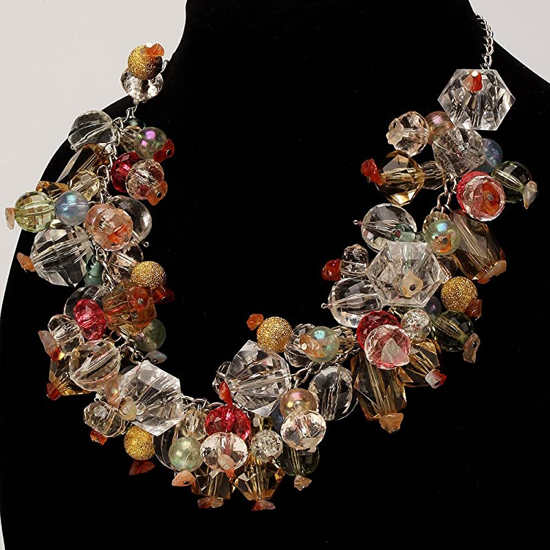 Brand new silver wire statement necklace with huge glass stones