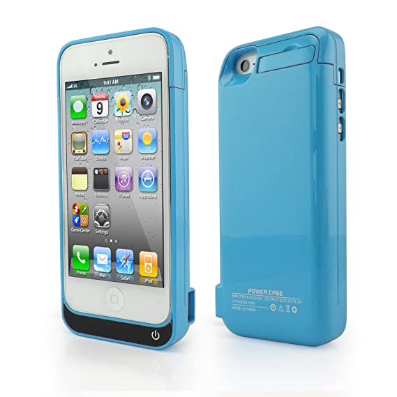 4200mAh External Backup Battery Charger Power Pack Case with Viewing Stand For IPHONE 5/ 5S/ 5C- Blue