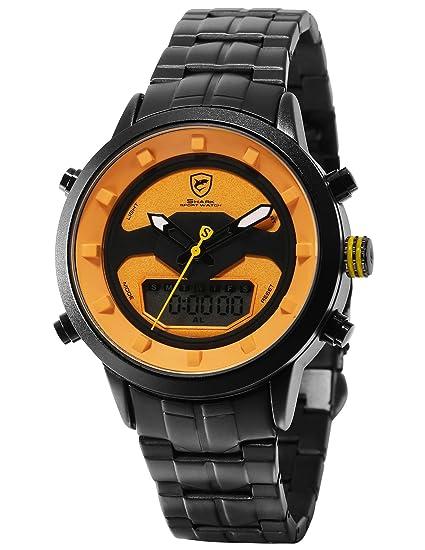 SHARK Hombre Cuarzo Relojes de Pulseras Acero Inoxidable LCD Cronómetro de Alarma Zona horaria Doble visualización de la Fecha del día SH553: Amazon.es: ...