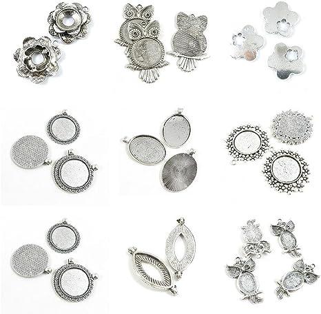 "HELLO 5 Charm Pendants Cabochon Setting Flower Round Silver  2/""x1 5//8/"""