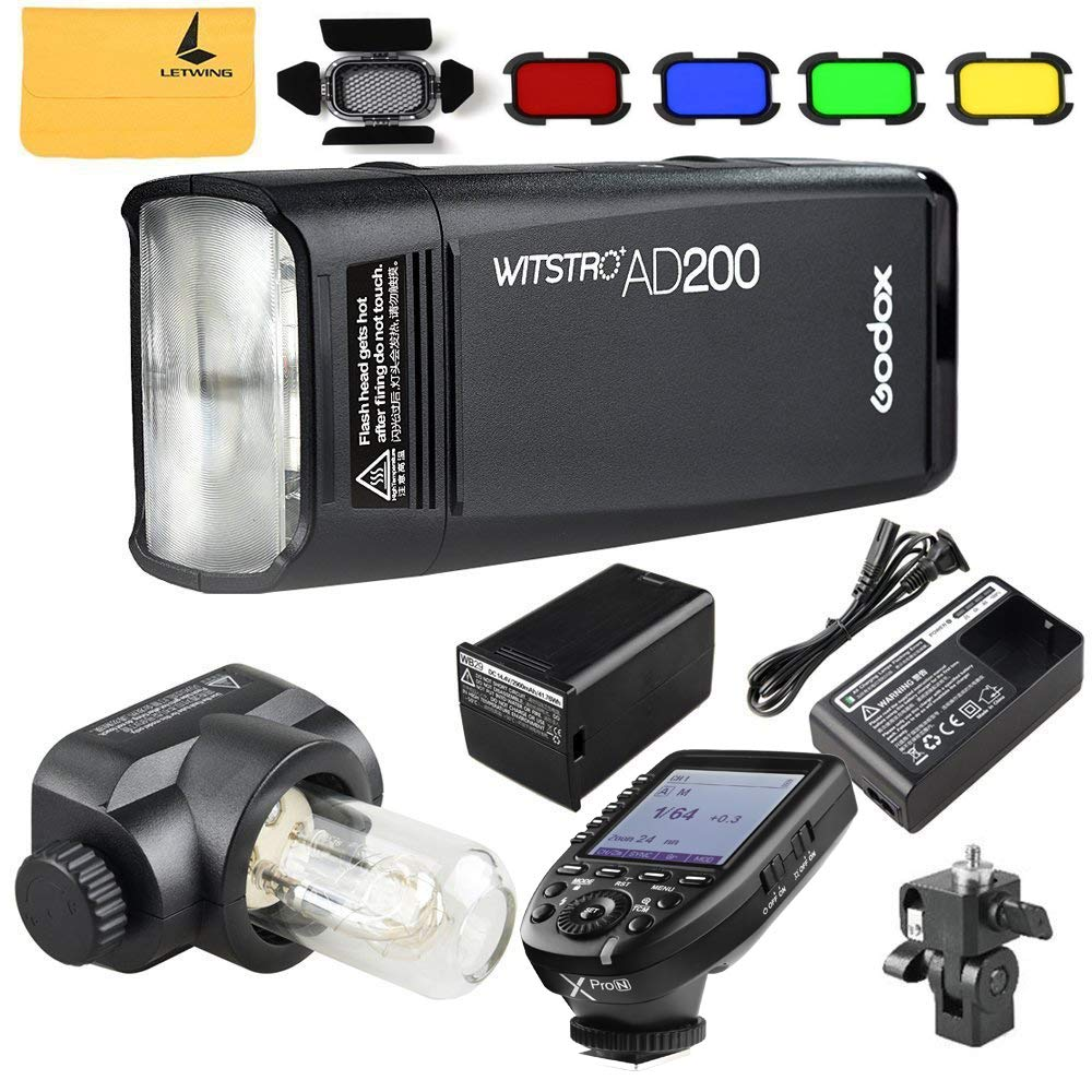 Godox AD200 TTL 2.4G HSS 1/8000s Pocket Flash Light Double Head 200Ws 2900mAh Lithium Battery+Godox XPro-N TTL 2.4 G Wireless Flash Trigger Compatible for Nikon,Godox BD-07 Barn Door by Godox (Image #1)