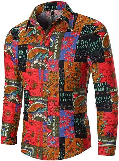 Camisa Hombre LMMVP Manga Larga Estampada Flores Ancla Vintage Regular Camisas Vestir Fiesta Slim Fit Moda Flor Impresión Blusa Camisas Manga Larga Tops: Amazon.es: Ropa y accesorios