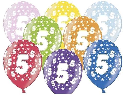 Globos 5° Cumpleaños Mezcla Metálica (30 cm): Amazon.es: Hogar