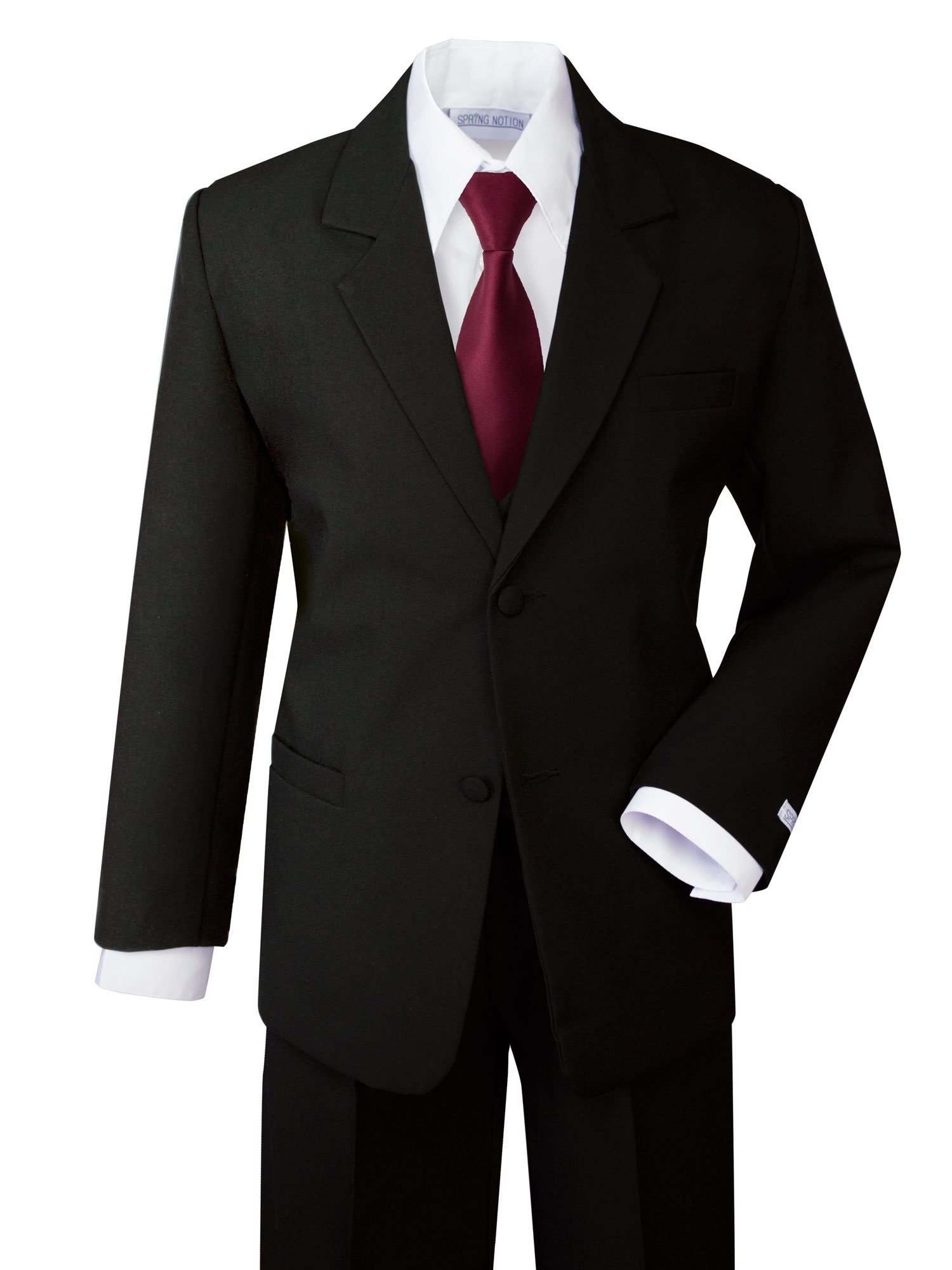 Spring Notion Boys' Formal Dress Suit Set 10 Black Suit Burgundy Tie