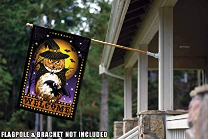 Amazon Com Toland Home Garden Halloween Fortune 28 X 40 Inch Decorative Spooky Welcome Owl Witch House Flag Garden Outdoor