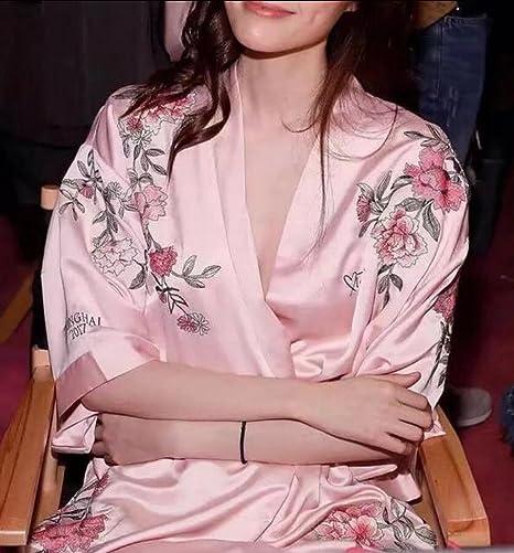 38974343a8 HTOOHTOOH Women s Satin Kimono Robe V Neck Short Bathrobe With Silk Lace  Trim Sleepwear at Amazon Women s Clothing store