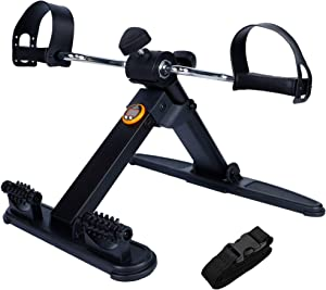 Hausse Folding Exercise Peddler Portable Pedal Exerciser for Legs and Arms, with 2 Massage Rollers, Upgrade Medical Folding Pedal Exerciser with Electronic Display, Black