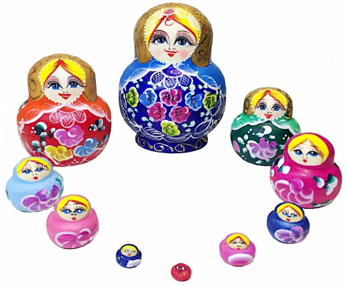 King&Light - 10pcs Peony Multicolor Russian Nesting Dolls Matryoshka Toys by K&L by LK (Image #6)