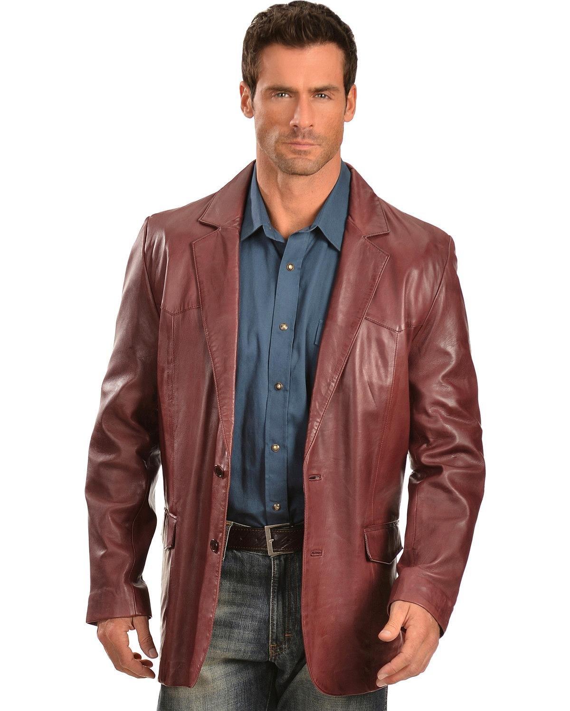 Scully Men's Cherry Lamb Leather Blazer Big Black Cherry 50 REG