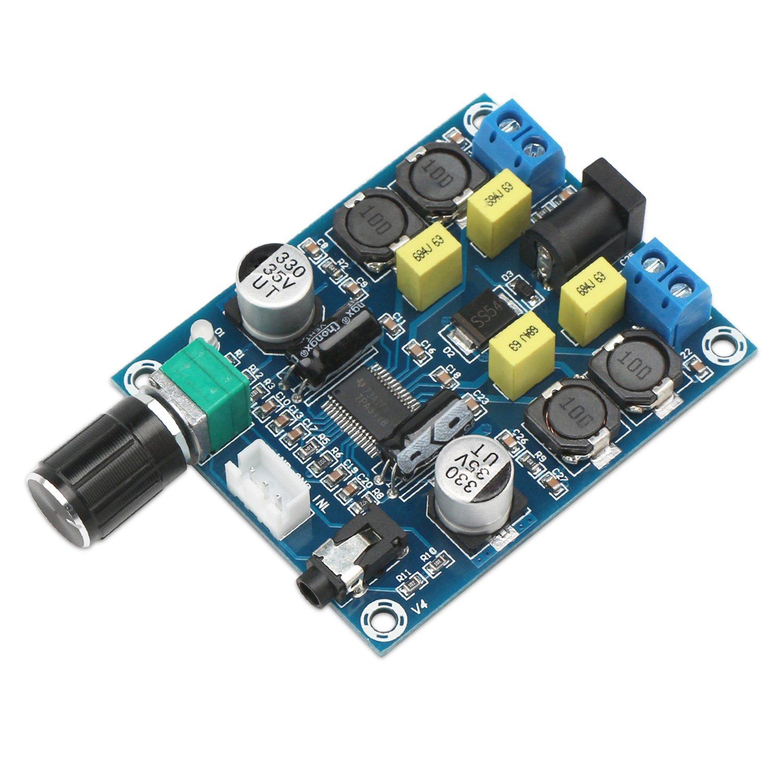 Carte d'amplificateur numérique 24v, Droking TPA3118D2 Carte d'amplificateur audio numérique CC 12V-28V à double canal 45W + 45W Amplificateur de puissance stéréo portable Module DIY pour haut-parleurs 4Ω-8Ω a