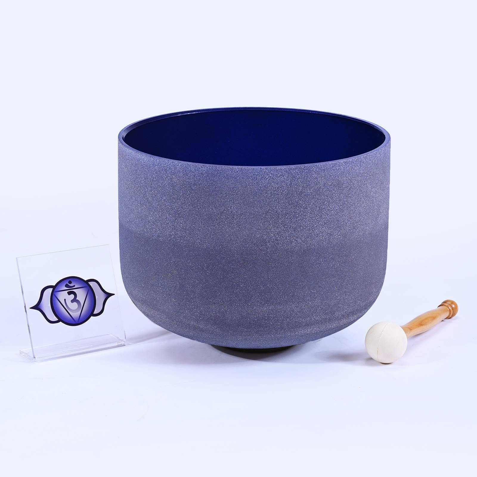432 Hz Frosted A note Third Eye Chakra Indigo Colored Quartz Crystal Singing Bowl 8 inch by Unknown