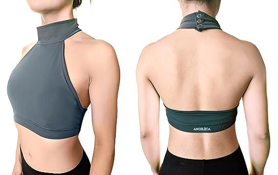 b5eeccc693 Angelica Polewear Pole Dance Halter Top Open-Back Padded Sports Bra for  Women (XXS