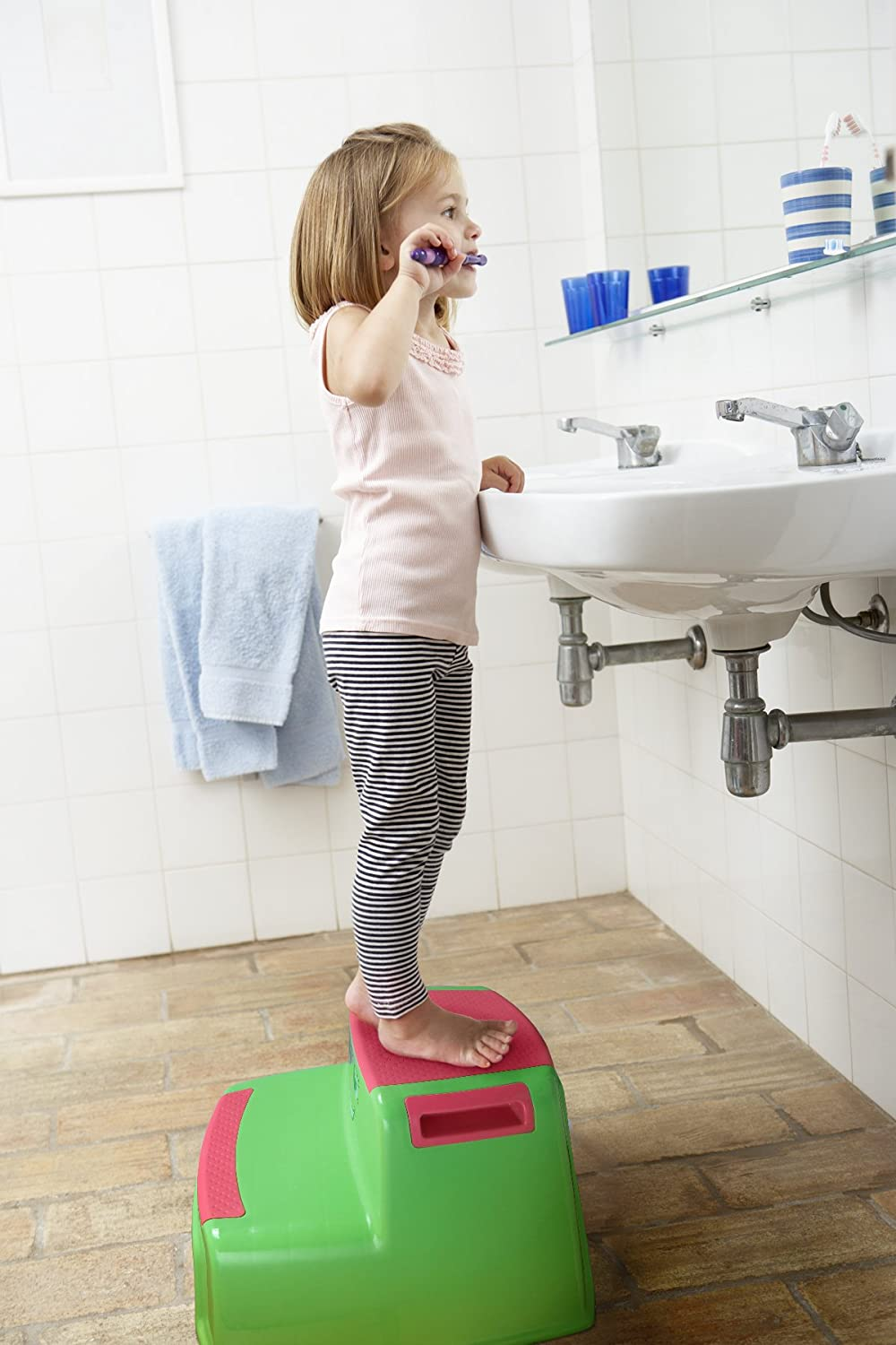 Hot Pink Girls- By Toddle doo Lightweight Cute Design for Use in Bathroom and Kitchen sink Toddlers Potty Step Stool for Toilet Training Dual Height Two-Step Stairs Stool Step Stools for Kids