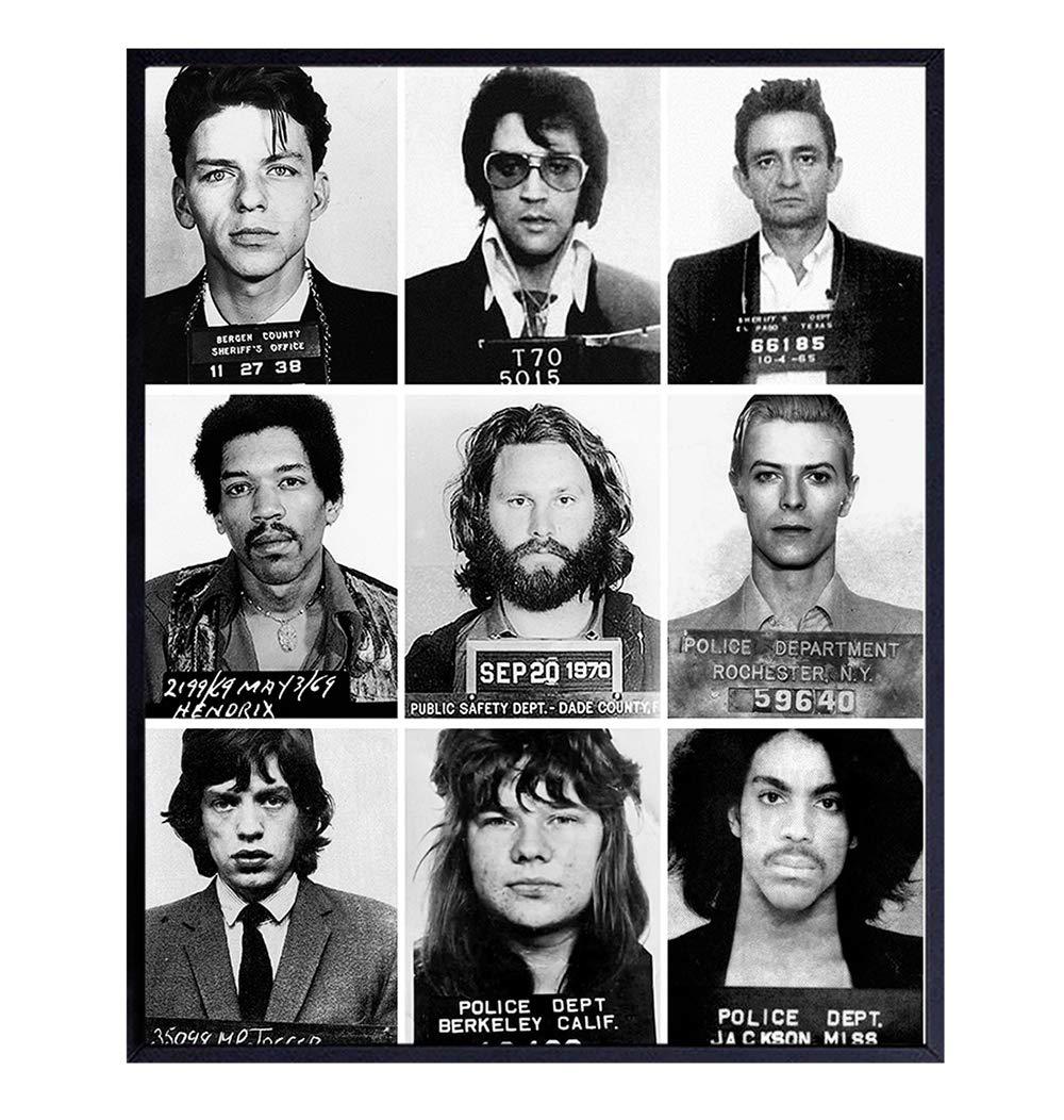 Musician Mugshot Photo Wall Art - 8x10 Poster Print - Gift for Johnny Cash, Jimi Hendrix, Prince, David Bowie, Elvis, Mick Jagger, Janice Joplin, Frank Sinatra, Jim Morrison Fan - Unframed Home Decor