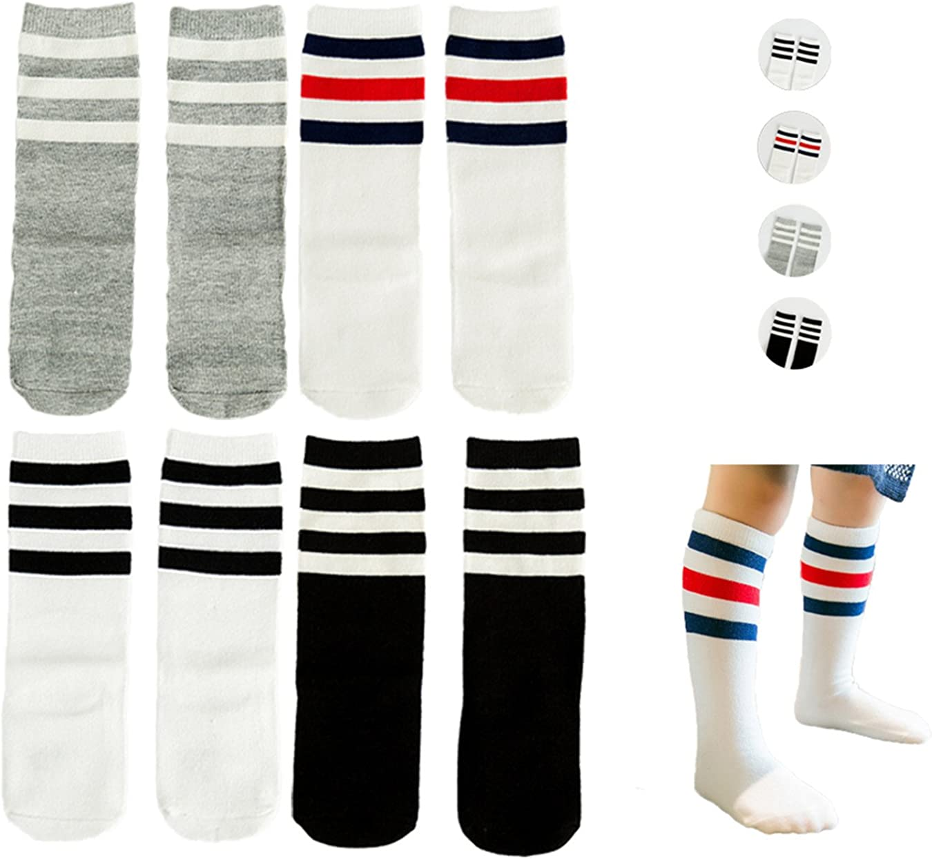 Fashion Baby Leg Warmers Bowknot Striped Cotton Socks Knee Length Stockings L