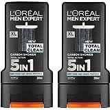 x2 L'Oreal Paris Men Expert 5 in 1 Total Clean Shower Gel 300ml