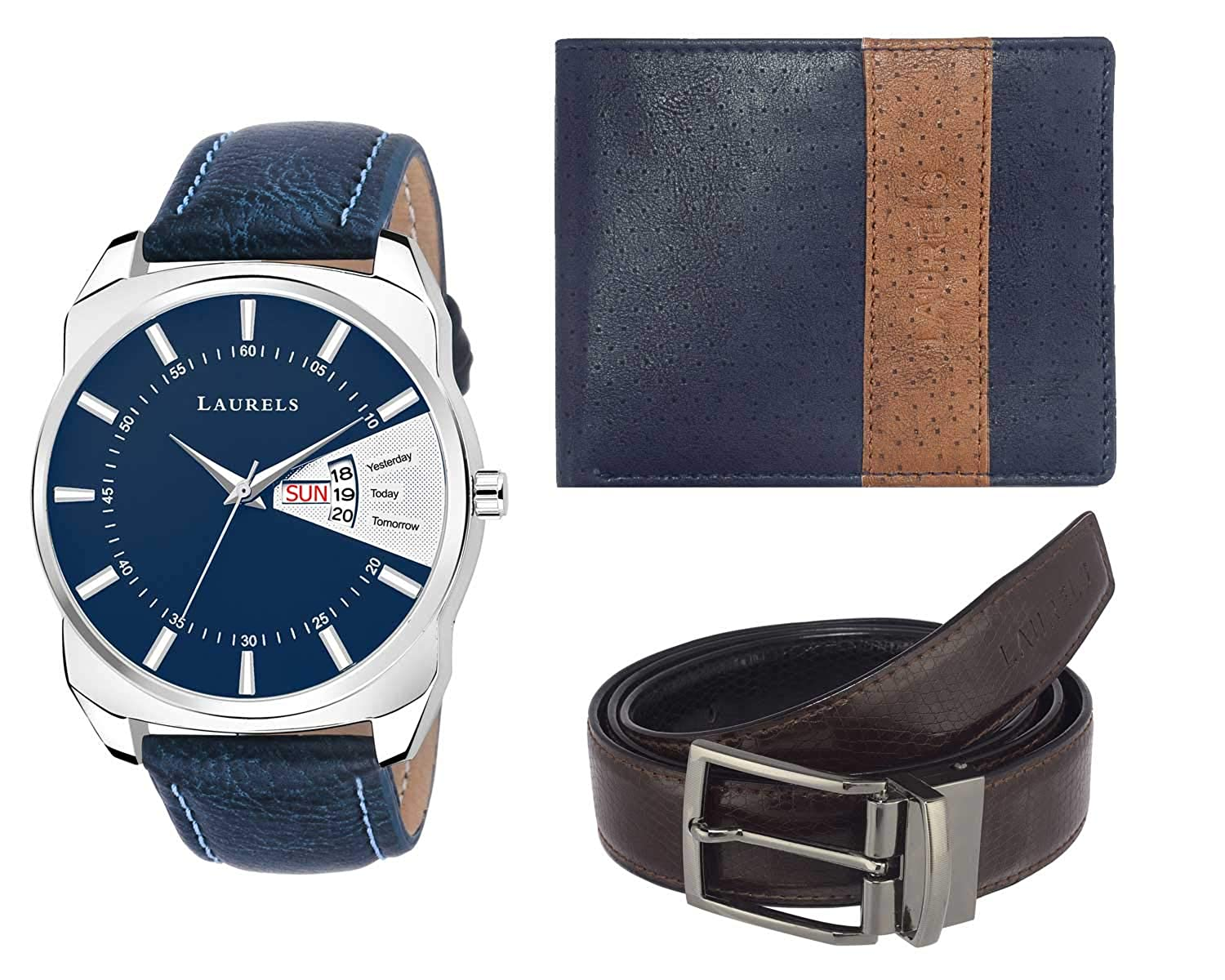 Laurels Watch Wallet and Belt Combo- Cp-Inc-203-Rvn-0303-VT-0209