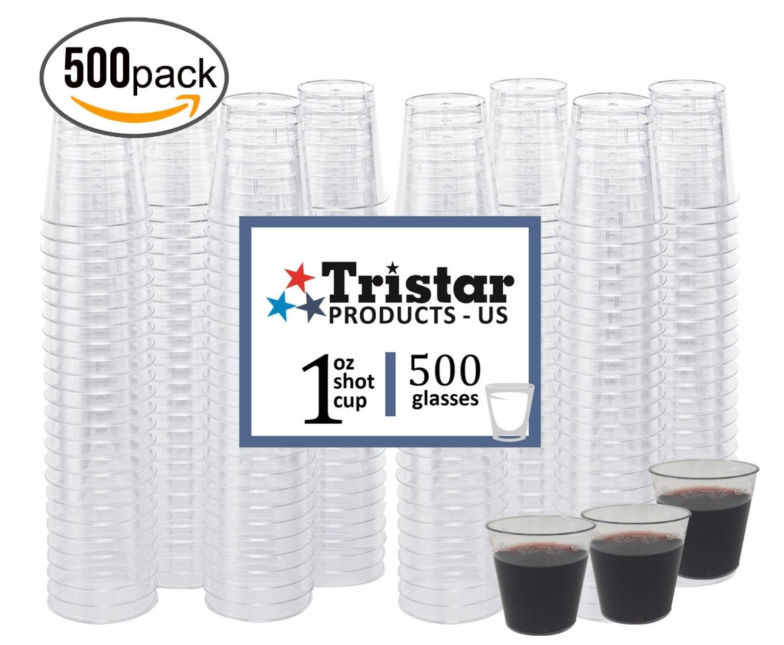 500 1 ounce Shot Glasses Disposable Cups Clear Durable Hard Plastic Tasting Sample Shot Glass Whisky Wine Tasting Premium Quality Heavy Duty