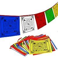 Anley Bandera de Oración Budista del Tíbet - Cinco Elementos Tradicionales - Diseño Caballo de Viento Horizontal (25 x 25 cm) - 25 Banderas y 7 Metros