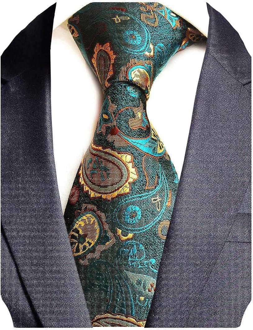 NEW Men/'s 100/% Silk Neck Tie Only pattern formal wedding party Gold 03