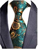 GUSLESON Brand New Striped Paisley Ties Mens Plaid Necktie for Wedding