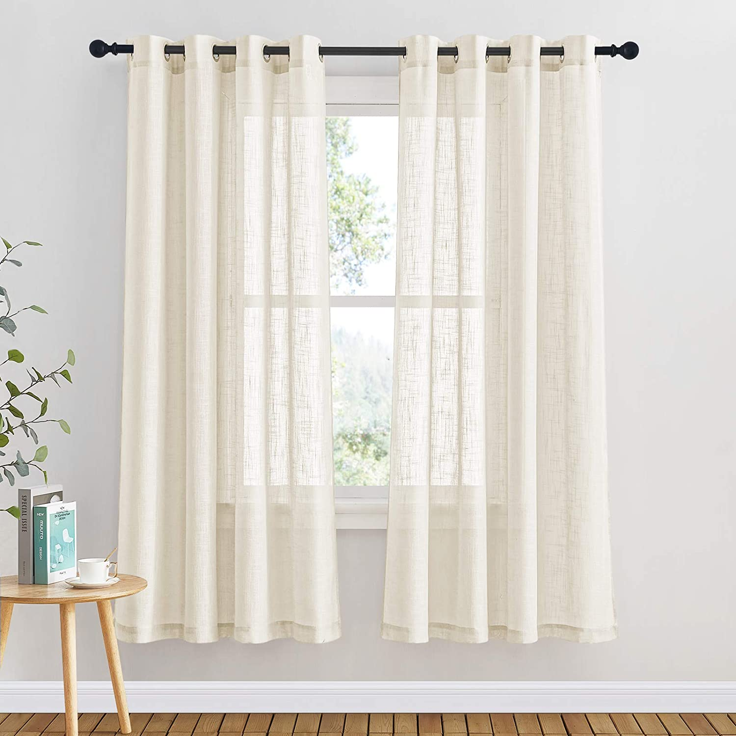 """PONY DANCE Semi Voile Curtains - Linen Look Translucent Net Voile Curtain with Eyelets Light Filter & Privacy Protected for Bedroom/Living Room, Set of 2, 52-inch W by 63-inch L, Beige Cream 2x W52"""" X L63"""" Beige Cream"""