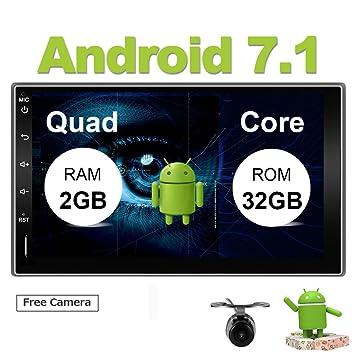 Eunavi Reproductor de Audio Estéreo de Radio GPS Universal de 2 DIN para Coche Android 7.1