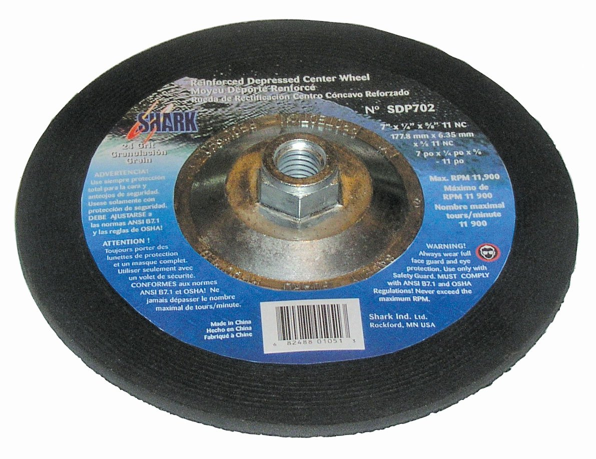 Grit-24 10-Pack Shark SDP702N-10    7-Inch by 0.25-Inch by 0.875-Inch Depressed Center Wheel No Hub