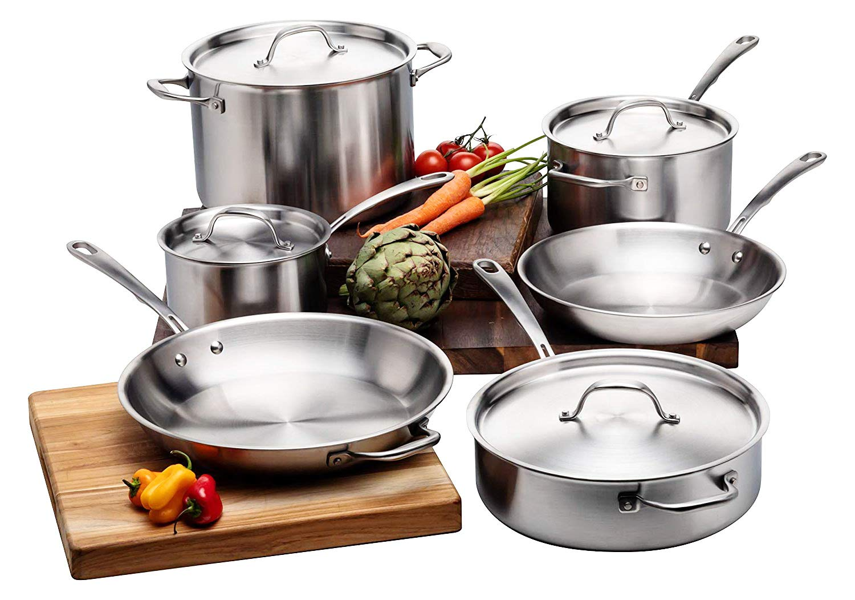 調理器具セット 鍋とフライパン10点セット、ステンレススチール誘導調理フライキット 蓋付き オーブン使用可。 ソースパン ソテーパン ストックポット スキレット シルバー   B07NK8BL3X