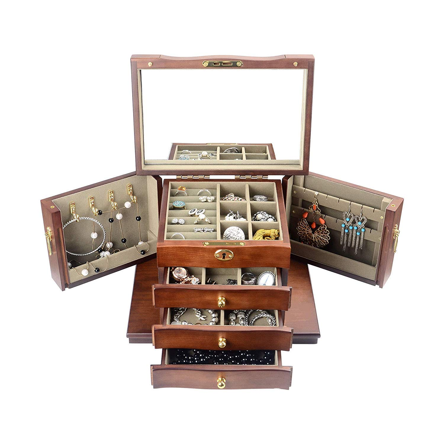 Kendal Hardwood Large Wooden Jewelry Box Organizer with Mirror and Lock WJC03HT by Kendal