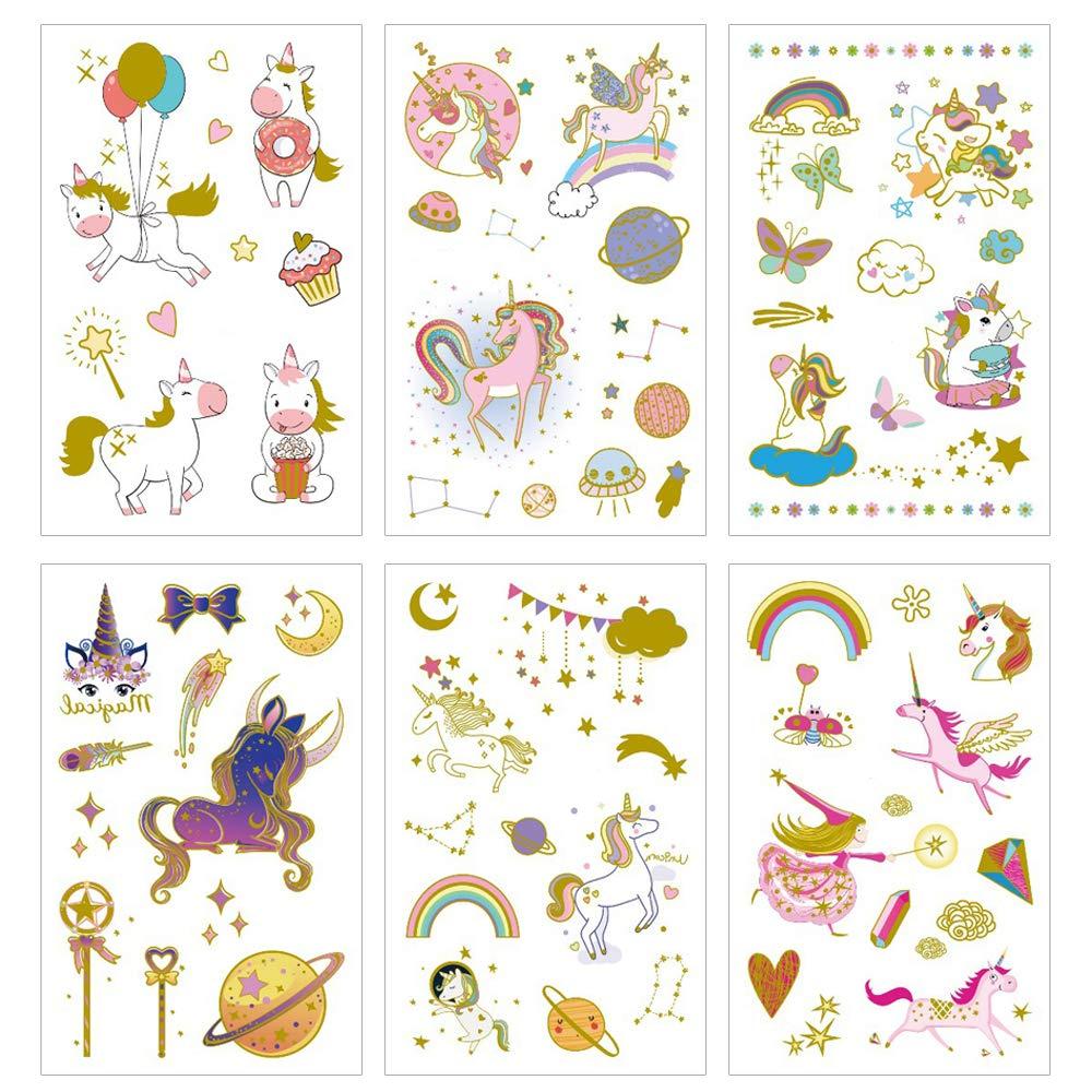 Yarlilyan 6 Sheets Gold Unicorn Tattoos for Girls, Children Birthday Party Favor Gilded Temporary Tattoo Sticker, Metallic Magic Fantasy Stars Moon Space Fake Waterproof tattoo on Body Hand Arm Face