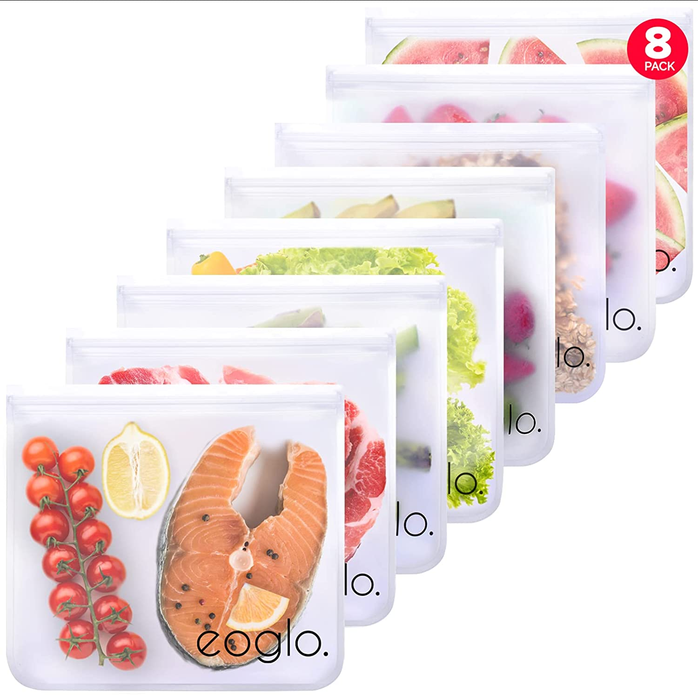 eoglo Reusable Food Storage Bags, BPA FREE, Dishwasher Safe 8 Pack XLarge Gallon Size Freezer Bags