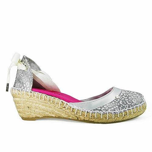 Lajuana - M. Cheetah Plata - Alpargatas media cuña plata, mujer, color Plateado, talla 41: Amazon.es: Zapatos y complementos