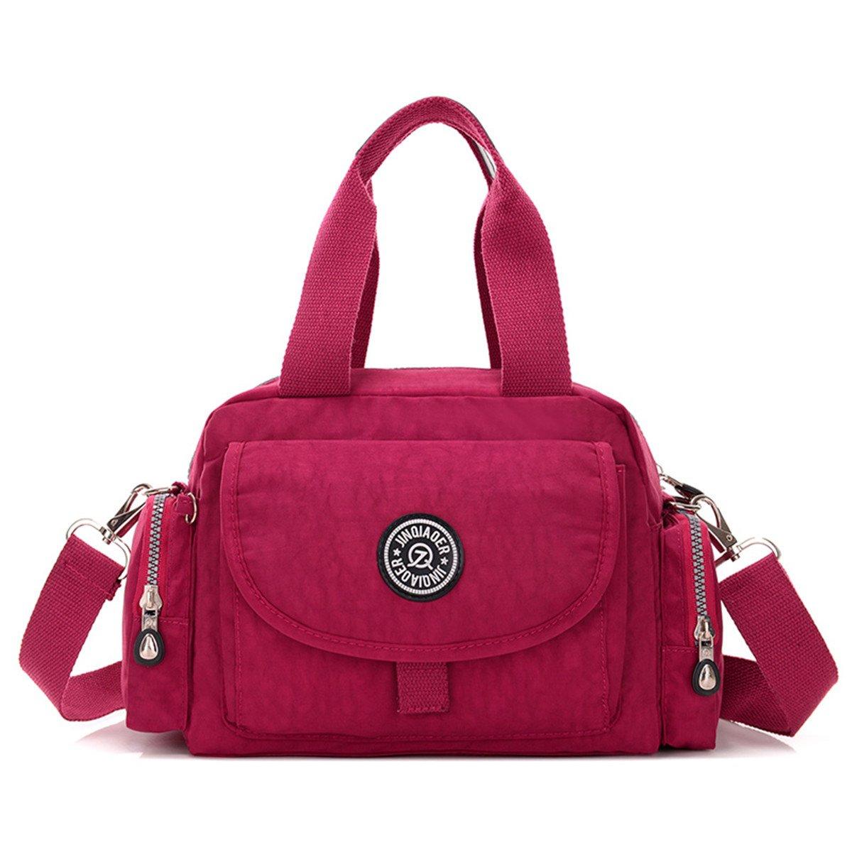 TianHengYi Girls Water Resistant Lightweight Nylon Top Handle Handbag Crossbody Shoulder Satchel Purse Red