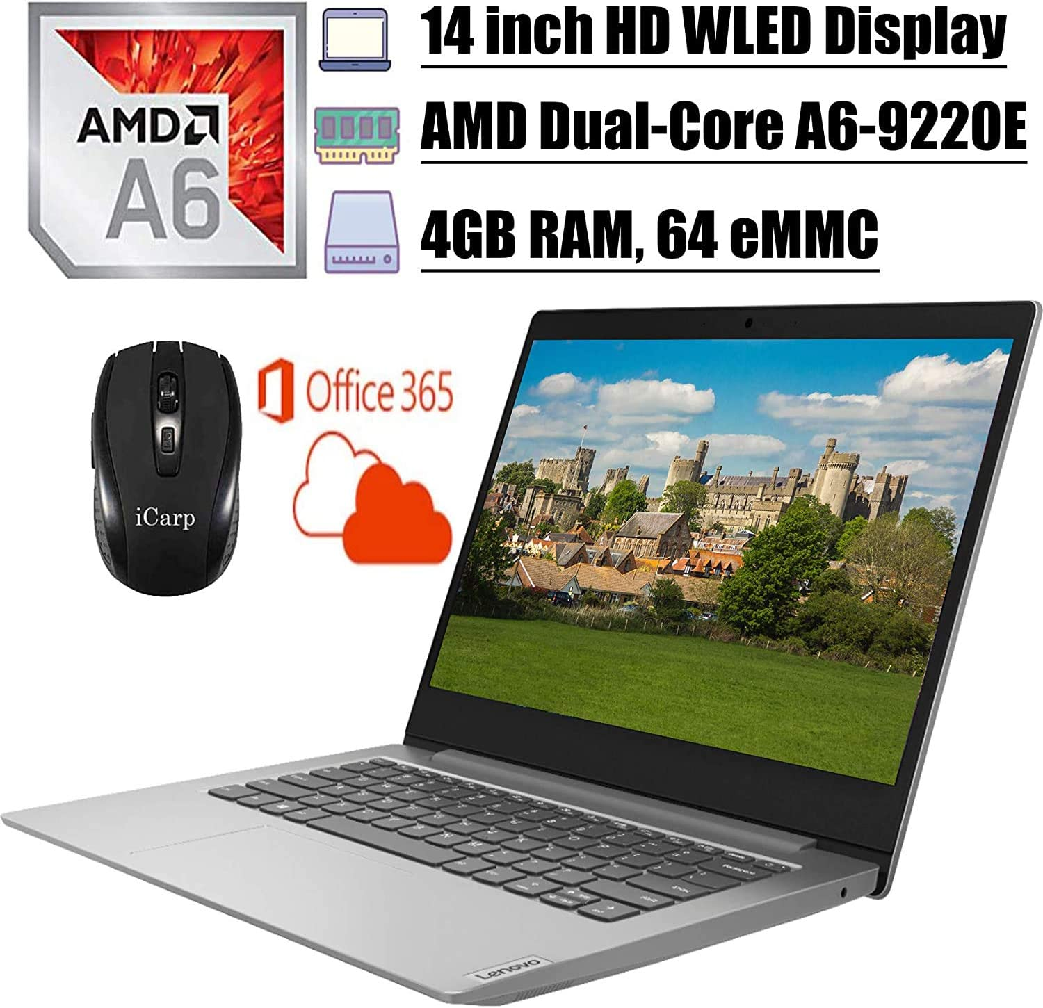 2020 Newest Lenovo IdeaPad 14 Laptop Computer 14 inch HD WLED Display AMD A6-9220e Processor 4GB DDR4 64GB eMMC Office 365 Personal WiFi HDMI Webcam Win10 + iCarp Wireless Mouse