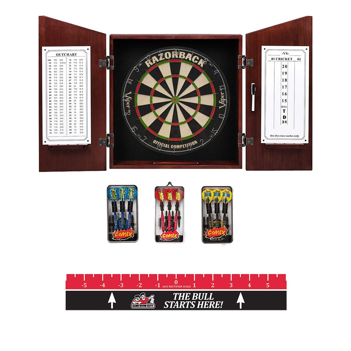 Game Room Guys Angular English Tudor Steel Tip Dart Board Cabinet Package