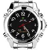 Weide WH-2302-B Montre à quartz double affichage LCD avec bracelet en acier inoxydable chromé Noir