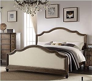 KELUNIS Modern King Bed, Arched Panel Platform, Bedroom Furniture Kit Beige Linen & Weathered Oak, Dimension:88