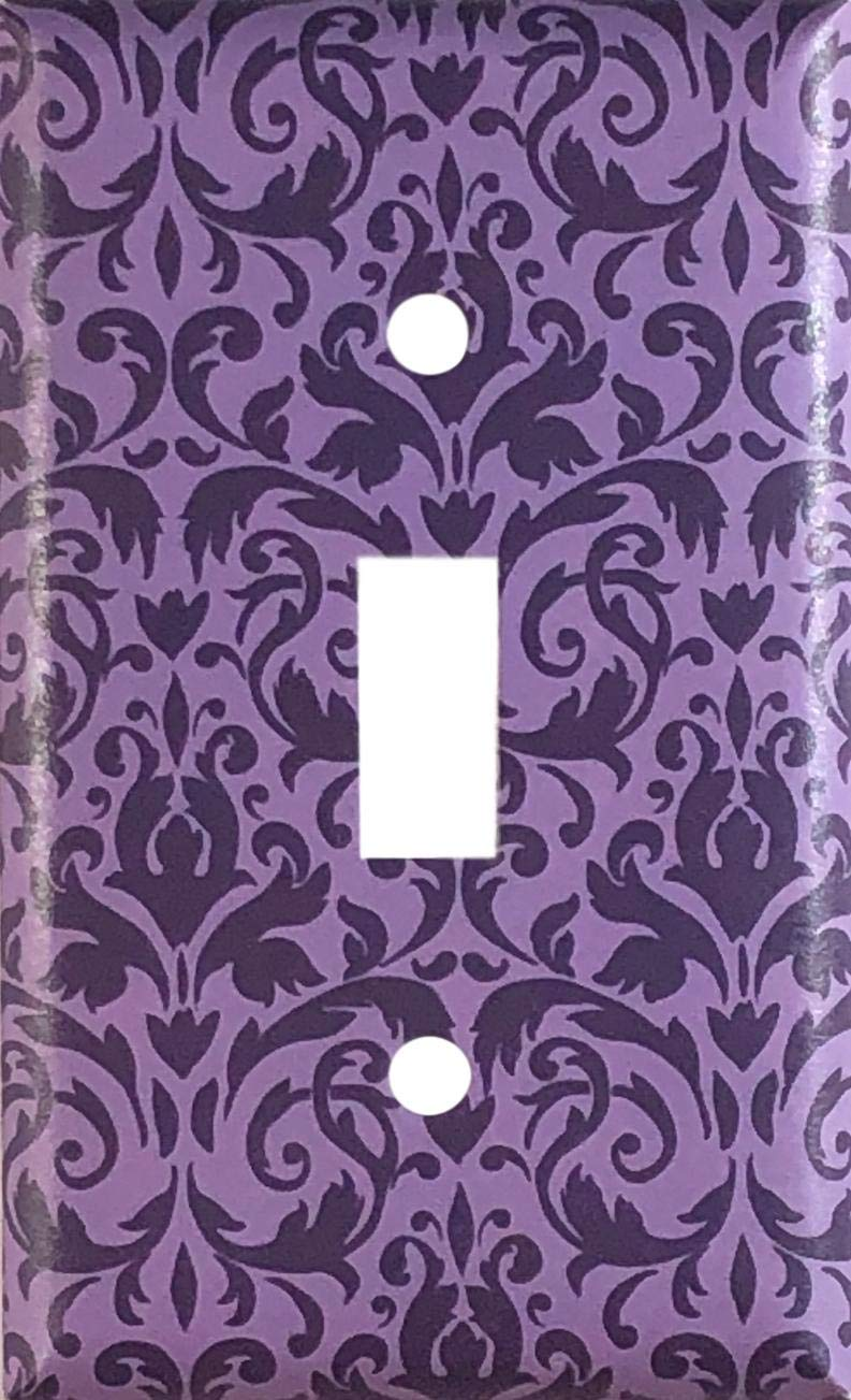 Purple Damask Design Decorative Single Toggle Light Switch Wall Plate Cover Standard Midway Or Jumbo Size Handmade Products Lightswitch Plates