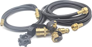Unifit Propane Brass 4-Port Tee Adapter Kit with 5 ft and 12 ft Hose for Motorhomes Tank RV Camping