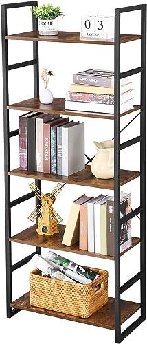 BEWISHOME Bookshelf 5-Tier Industrial Bookcase Multifunctional Display Shelves Plant Stand Storage Organizer